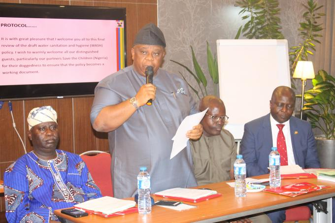 Hunpe  Babatunde, Special Advisor to the Governor on Environment Matters, Dr. Samuel Babatunde Adejare Out-going Commissioner of Lagos state  Ministry of the Environment, Dr. David Atamewalen, Chief Of Party, SDI, Save the Children and Mr. Abiodun Bamgboye, Permanent Secretary, Lagos state Ministry of the Environment during the WASH Policy Retreat in Lagos.